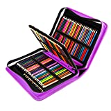 YOUSHARES 180 Slots PU Leather Colored Pencil Case - Large Capacity Carrying Case for Prismacolor Watercolor Pencils, Crayola Colored Pencils, Marco Pens, Gel Pens(Purple) (Color: Purple)