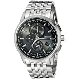 Citizen Men's Eco-Drive World Chronograph Atomic Timekeeping Watch with Perpetual Calendar, AT8110-53E (Color: Silver Tone Stainless Steel, Tamaño: One Size)