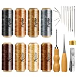 FEPITO 21pcs Leather Waxed Thread 8 Color 264 Yards 150D Leather Sewing Waxed Thread Cord with Leather Craft Hand Tools Kit for DIY Sewing Craft