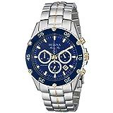 Bulova Men's 98H37 Marine Star Chronograph Watch (Color: Silver/Blue, Tamaño: O/S)