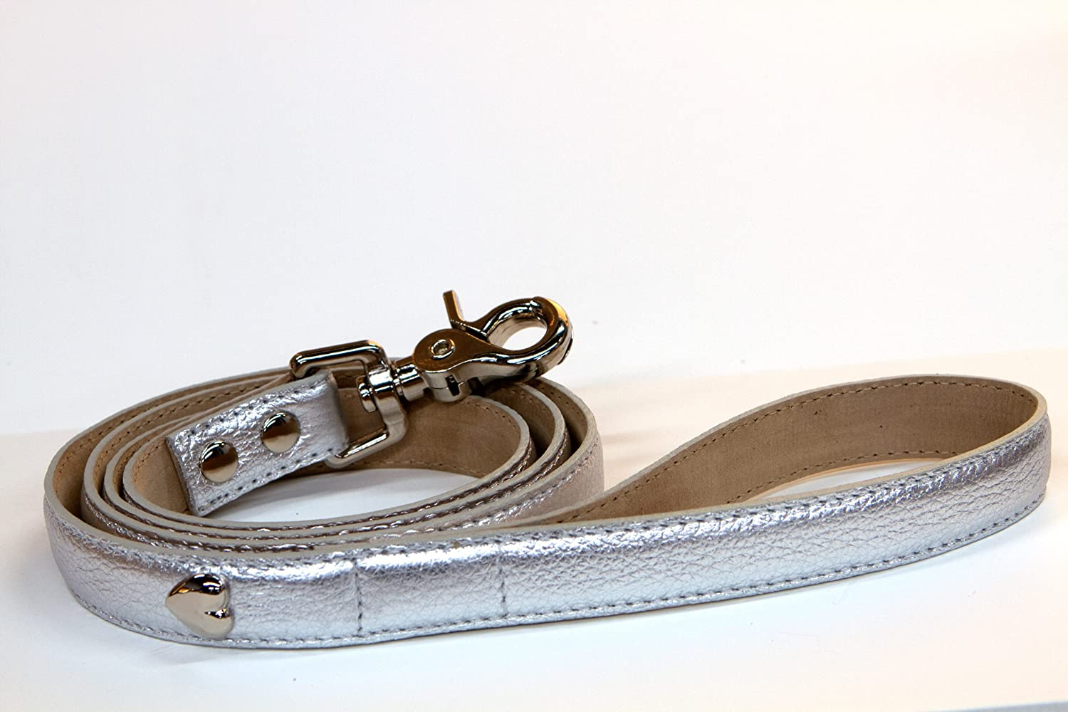 Bluemax Genuine Leather Metallic Cow Dog Leash, 3/4-Inch by 4-Feet, Silver