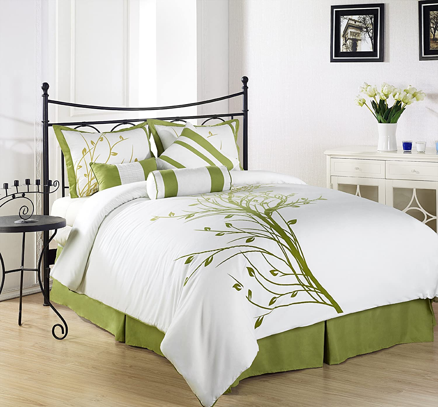 Green bedding and bedroom decor ideas for White queen bedroom set
