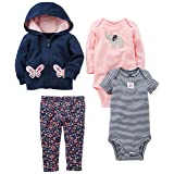 Simple Joys by Carter's Baby Girls 4-Piece Little Jacket Set, Navy/Pink Floral, 24 Months (Color: Navy/Pink Floral, Tamaño: 24 Months)