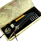 GC Quill Antique Feather Writing Quill Pen Gold Pen Stem Calligraphy Pen Set 100% Quality Guarantee (Color: black-brown  )