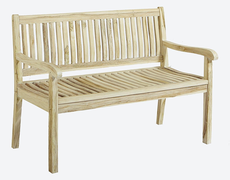 Trendy-Home24 2-Sitzer Teakbank Teakholz Bank Arinos Massivholz, Holzbank, Gartenbank, ca. 120 cm breit, white wash, Shabby Look