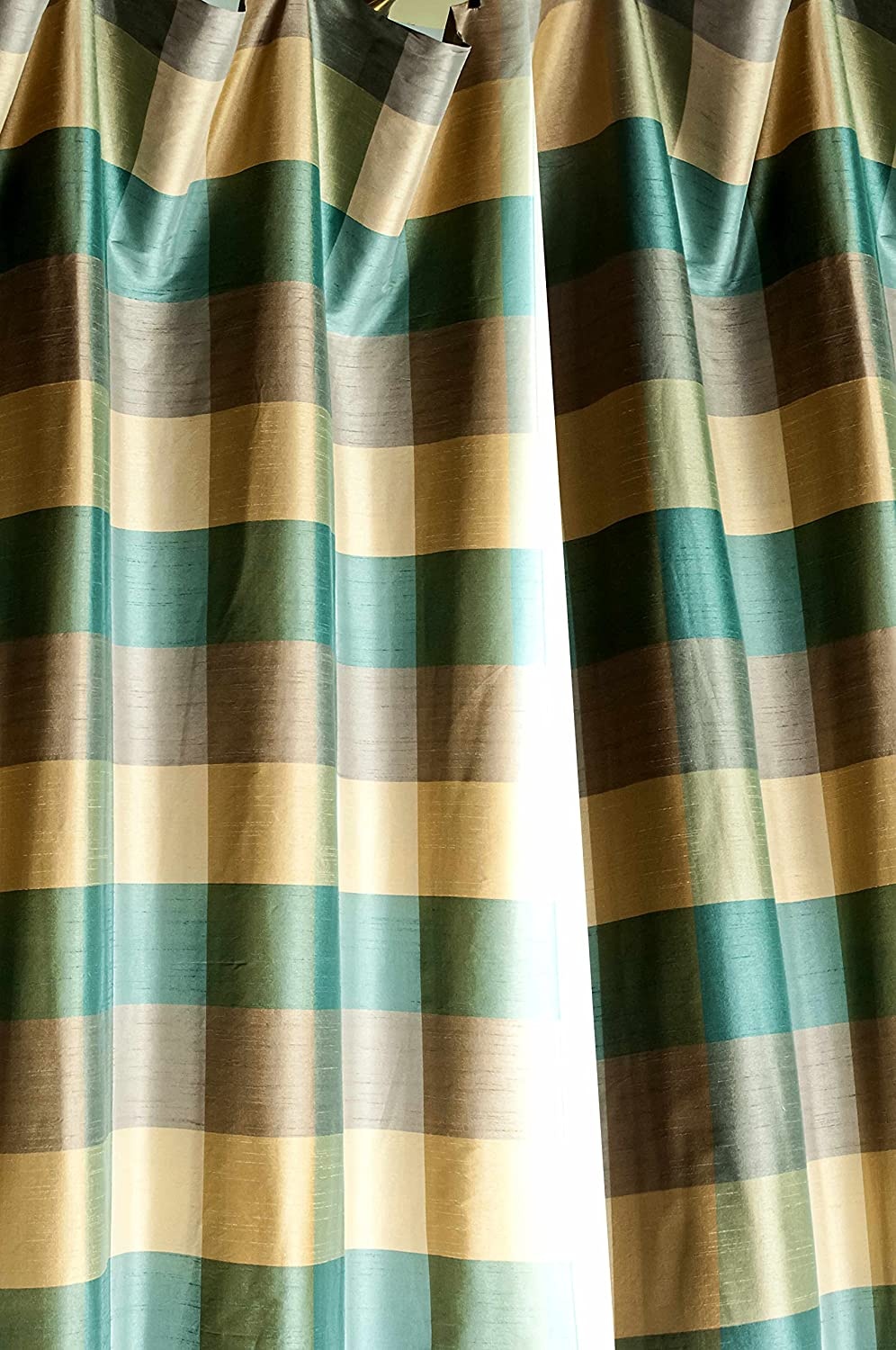 Torquoise blue,gold buffalo cheks faux silk lined curtain