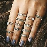 Setita 11 Pieces Turkish Retro Elephant Moon Rose Carving Joint Knuckle Nail Midi Ring Set Boho Ring Set (Ancient Silver) (Color: Ancient Silver)