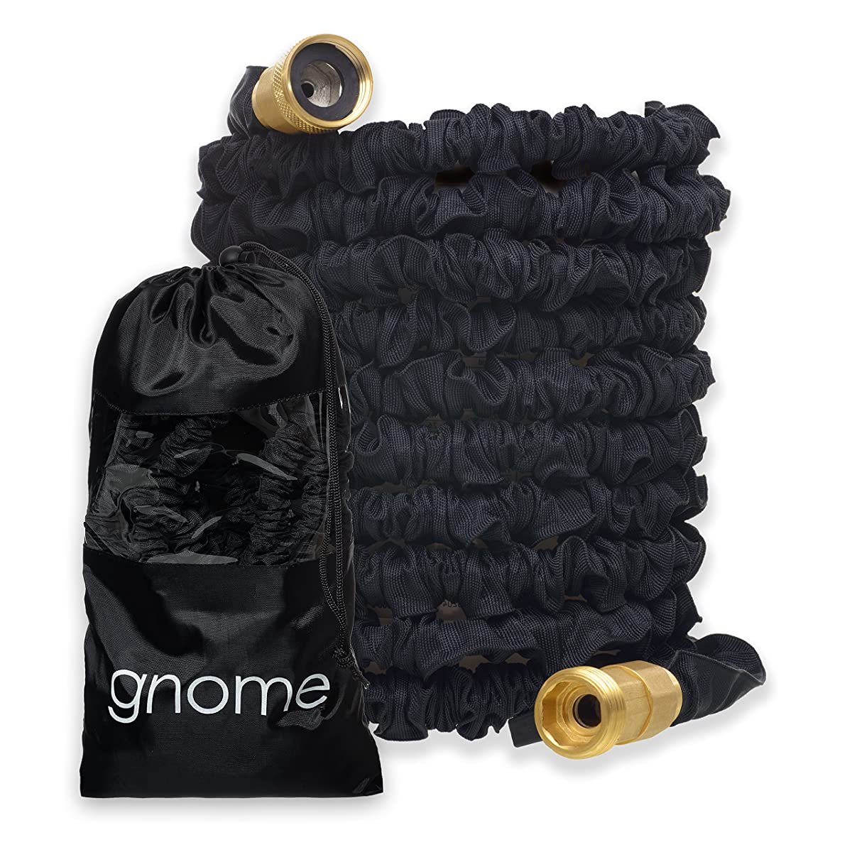 Gnome Garden Hose | Flexible Expandable Non-Kink Water Hose | Best In Class Reinforced USA Sized Solid Brass Connectors | On/Off Valve, Lightweight, Pocket Bag, Great Gift for Men or Women