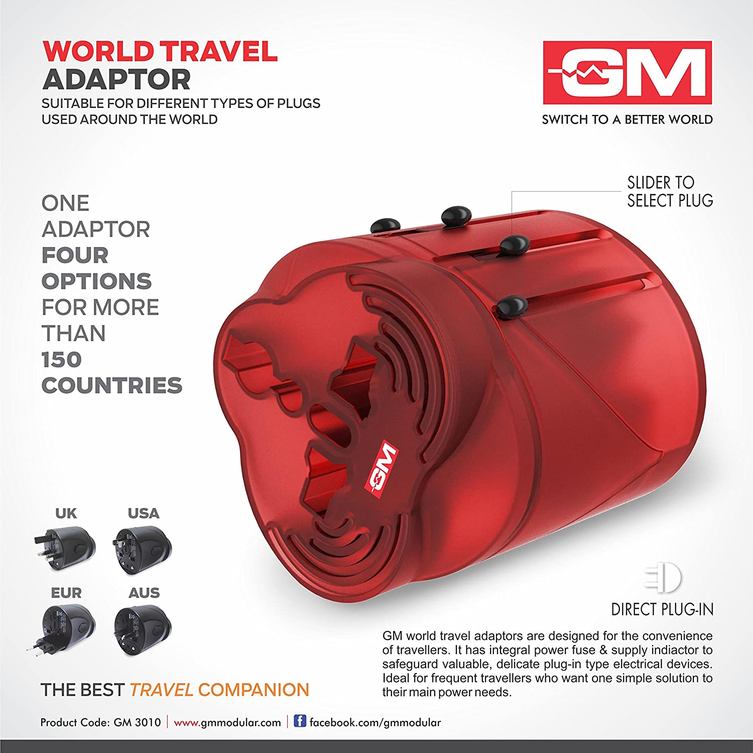 gm world travel adaptor suitable for different types of gm 3010 world travel adaptor suitable for different types of plugs used around the world in 150 countries color vary in home improvement