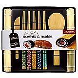 Soeos Beginner Sushi Making Kit, Bamboo Sushi Kit,Included 2 Rolling Mats - 5 Pairs Chopsticks - Paddle - Spreader