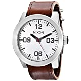 NIXON Men's Corporal Series Analog Quartz Watch / Leather or Canvas Band / 100 M Water Resistant and Solid Stainless Steel Case (Color: Silver-Tone/Brown, Tamaño: One Size)