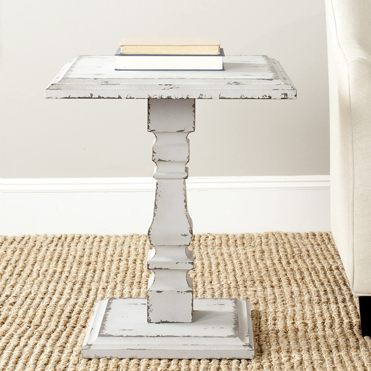 Safavieh American Home Collection Angela Antique White Side Table 1