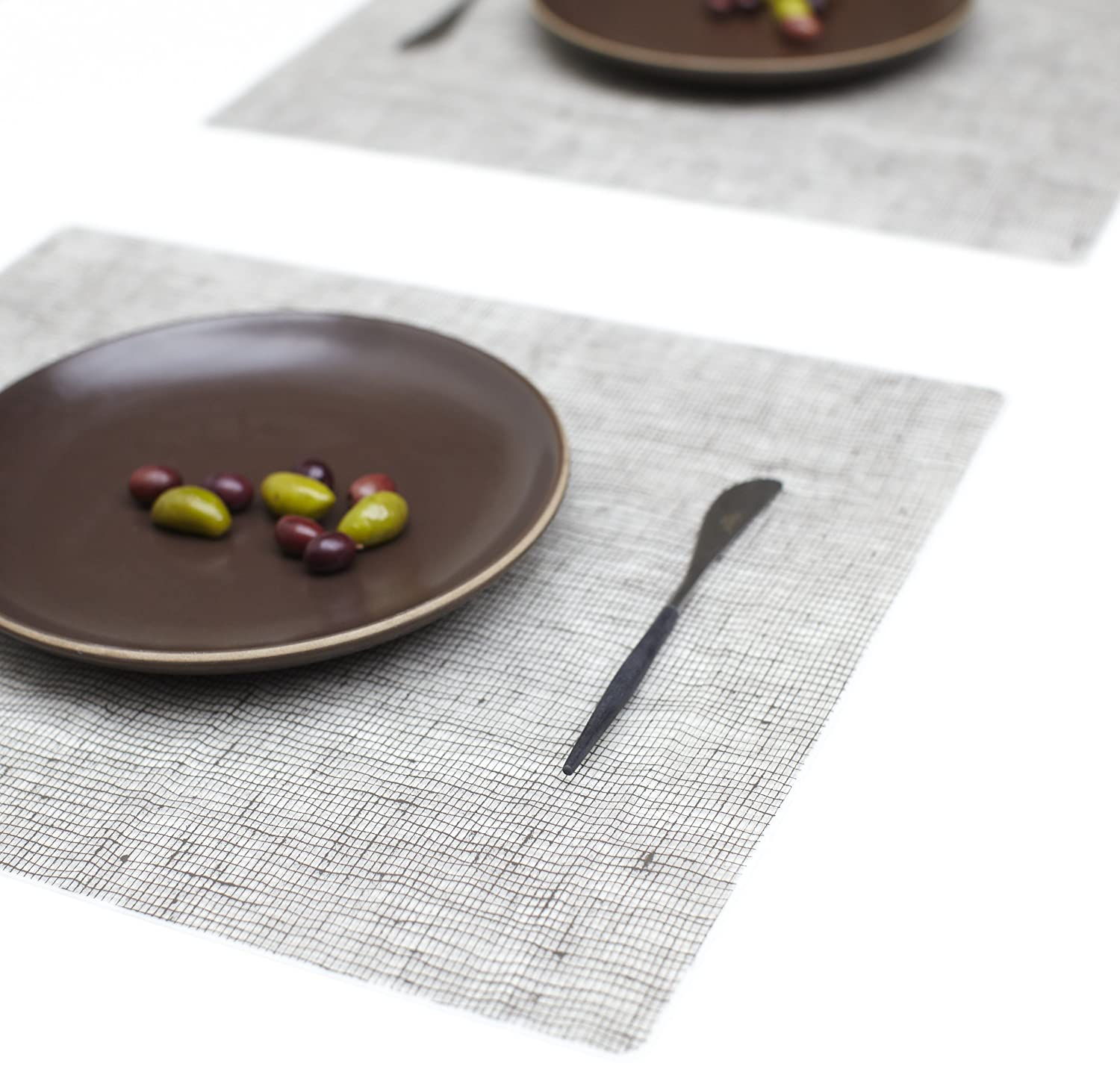 Moderntwist Silicone Placemat, Linen, Chocolate , New, Free Shipping