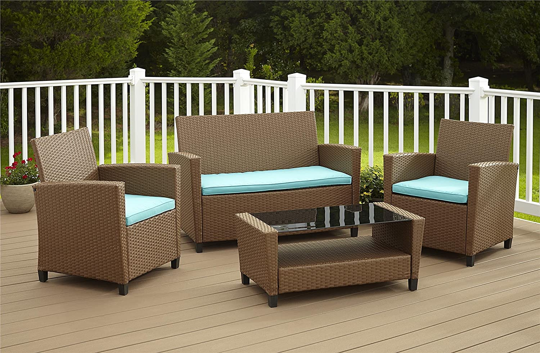 Patio Furniture Set Wicker Dining Resin 4 Piece Outdoor Garden Table Sofa Lou