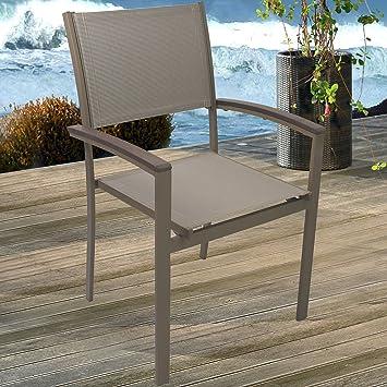 4 Stück Aluminium Bistrostuhl Garten Stapelstuhl Mit Polywood / Non Wood    Armlehnen Und 2x2 Textilenbespannung Stapelbarer Gartenstuhl Gartensessel  ...