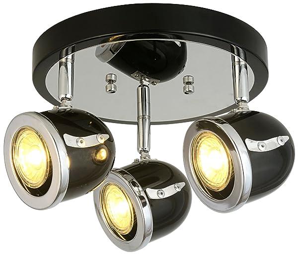 LED Retro Adjustable Eyeball Black &Chrome Ceiling Spotlight (Black & Chrome, 3 Lights Ceiling) (Color: Black &Chrome, Tamaño: 3 Lights)