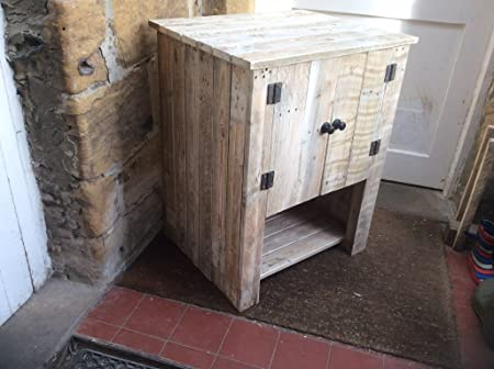 Rustic Freestanding Cupboard/Vanity Unit made from reclaimed pallet wood ideal to hold a Belfast Sink