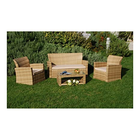 My Garden M0416-15 Floor Salottino Set Sofa Giardino, 130x63x78 cm, Naturale
