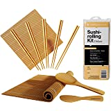 BambooWorx Deluxe Sushi Making Kit + Chopsticks- 5 Pairs Elegant Chopsticks, 2 Sushi Rolling Mats, 1 Rice Paddle, 1 Rice Spreader, 100% Bamboo, Sushi Mats & Utensils.