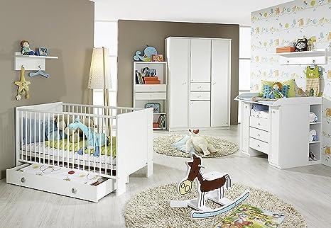 Babyzimmer Emma, Babybett + Kleiderschrank + Wickelkommode + Regal in Weiß