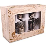 Skull Stein And Goblet Set With Stainless Steel Lining In A Wood Crate- Decorative And Functional Beer Tankard or Coffee Mug & Wine Chalice - Set of 4 - Ideal Novelty Gothic Gift Idea - Medieval Decor (Color: Black)