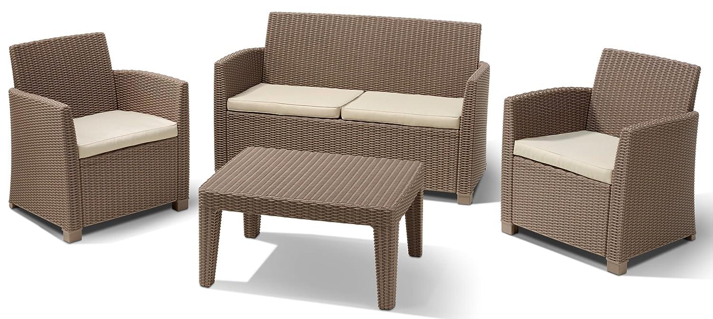Allibert 212454 Lounge Set Corona  (2 Sessel, 1 Sofa, 1 Tisch), Rattanoptik, Kunststoff, cappuccino