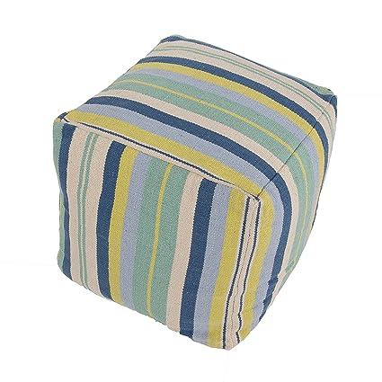 Jaipur Stripe Pattern Blue/Ivory Cotton Pouf, 18-Inch x 18-Inch x 18-Inch, Parchment Cad08