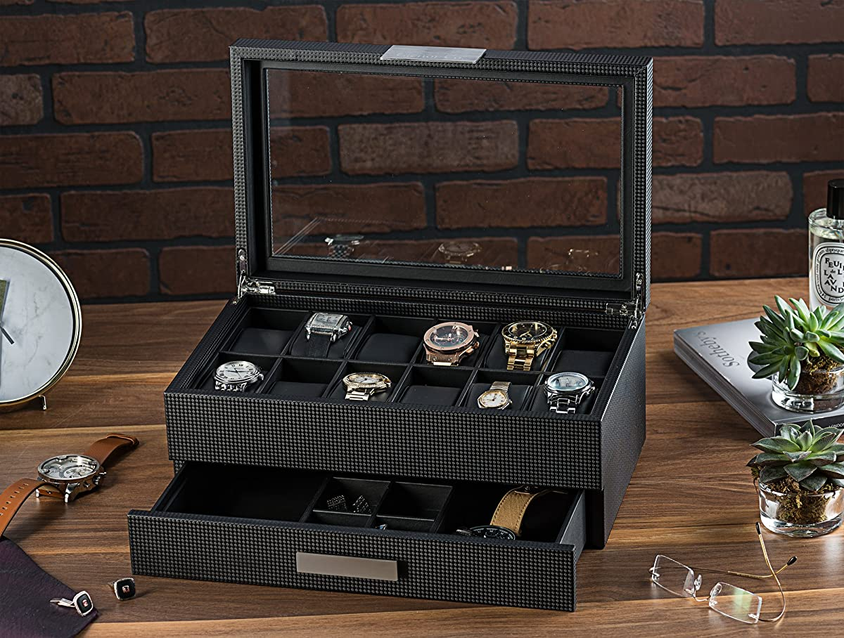 Glenor Co Watch Box With Valet Drawer For Men 12 Slot