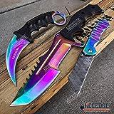 WarTech 3 PC Rainbow COMBO Counter Strike CS:GO TACTICAL Hawk Claw Karambit + HUNTSMAN BOWIE Fixed Blade Knife + Miniature 6.5