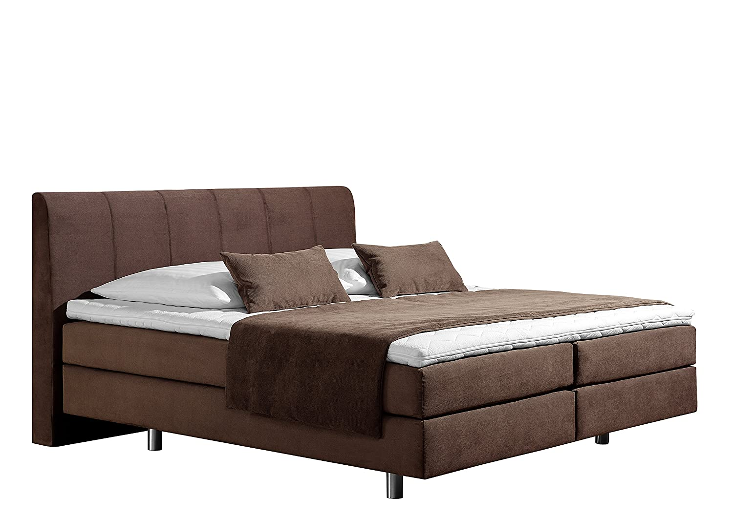 Maintal Betten 237435-4171 Boxspringbett Montepellier 140 x 200 cm, Strukturstoff choco