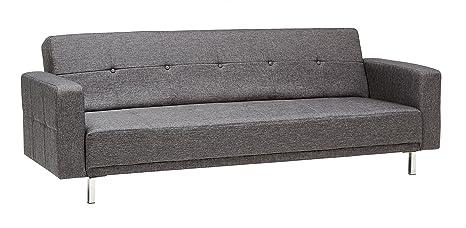 Schlafsofa Luis Grau Schlafcouch Stoff Schlaffunktion Sofa