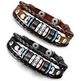 Besteel 2PCS Vintage Genuine Leather Bracelet for Men CZ Brown Adjustable Bangle Braided Bracelet, 7.3-8.5 inches (Color: A: 2pcs a set)