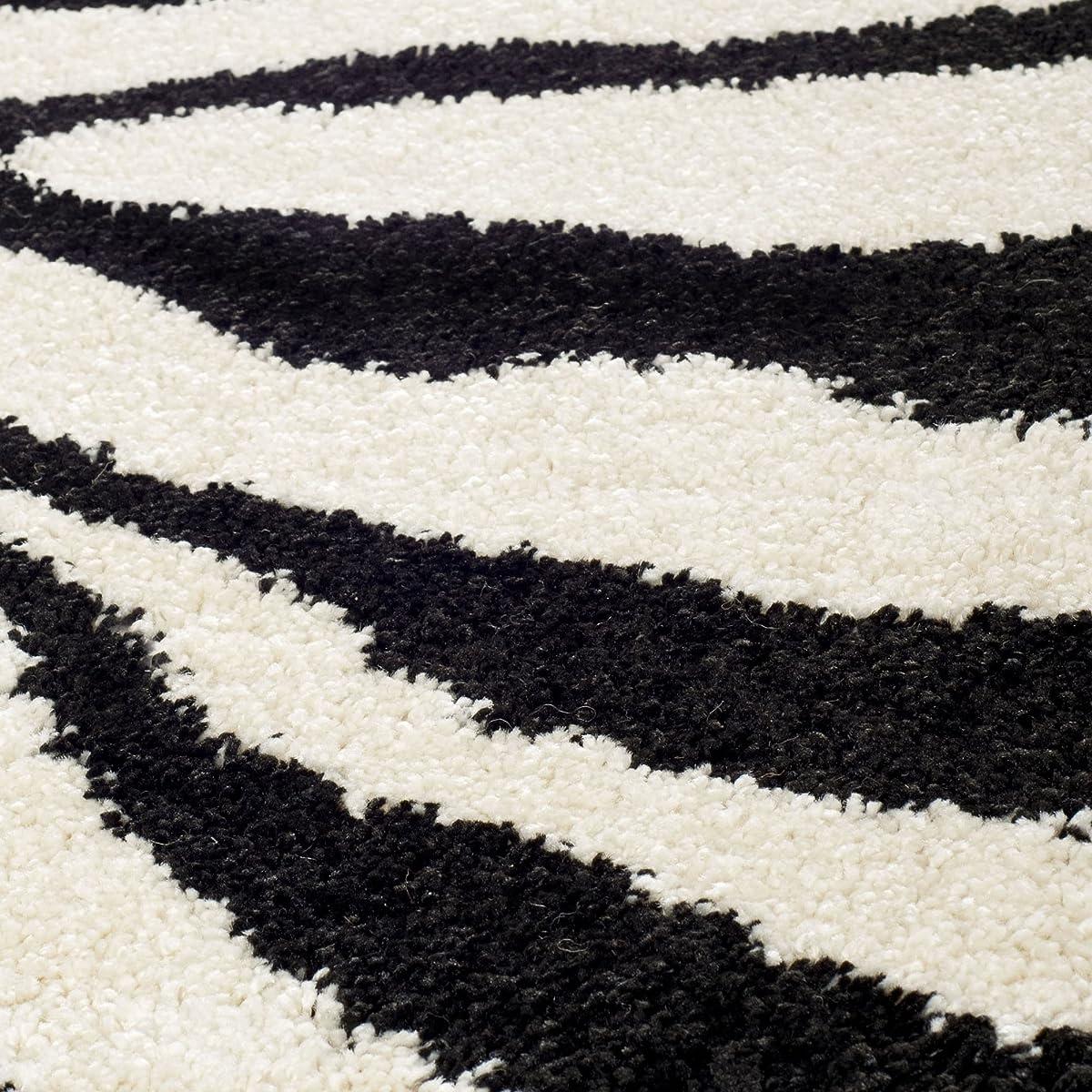 Safavieh Zebra Shag Collection SG452-1290 Ivory and Black Area Rug (4 x 6)