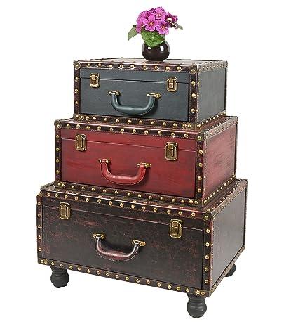 ts-ideen Containers estantería cómoda cofres de diseño estilo retro Used Look con 3 cajónes