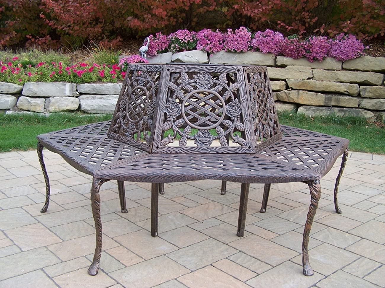 Oakland Living Tea Rose Cast Aluminum Tree Bench, Antique Bronze 0