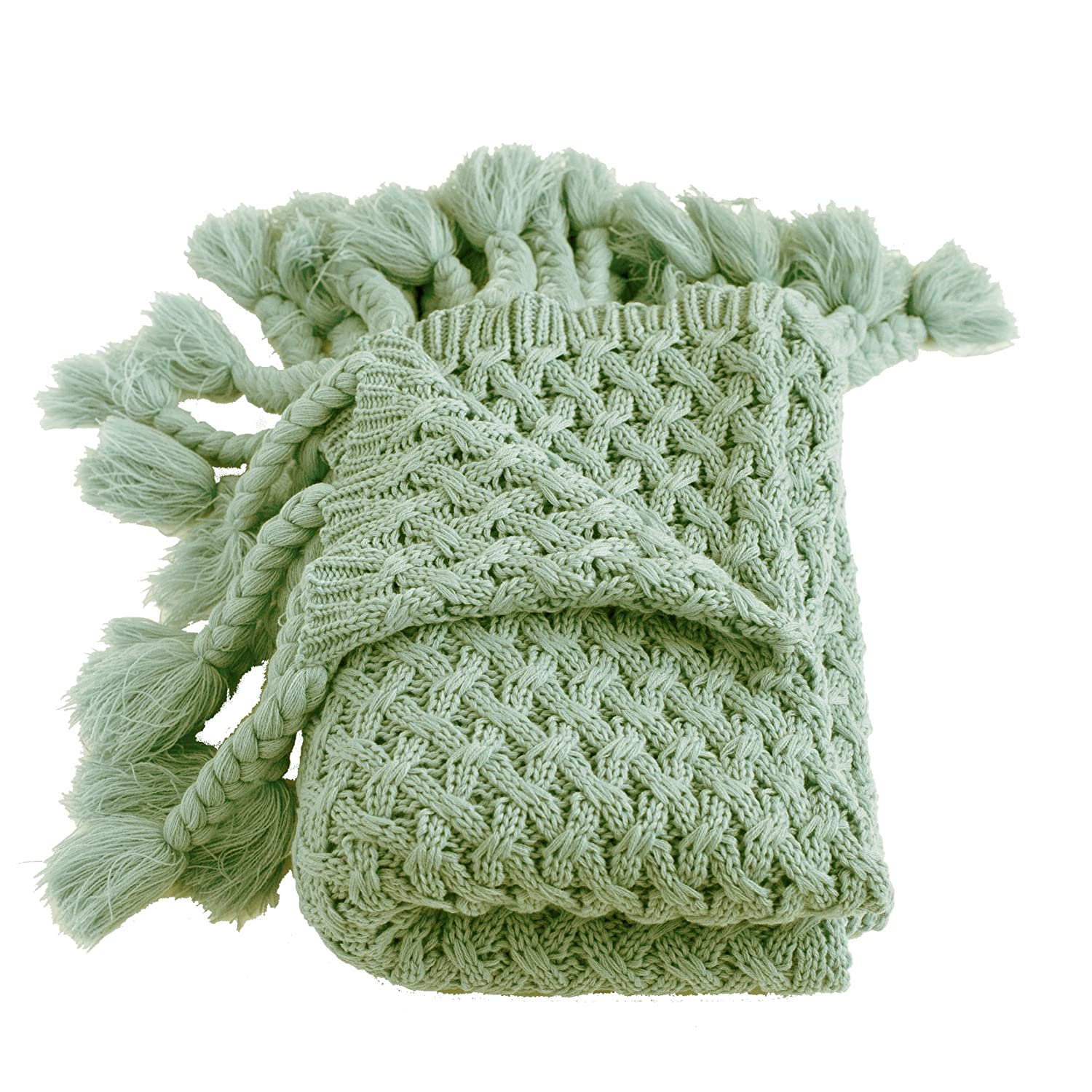 sage knitted throw