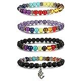 Thunaraz 4pcs Men Women 7 Chakras Beads Bracelet Lava Rock Bracelets Natural Stone Yoga Bracelet Bangle 8MM Yoga (Color: A:4PCS)