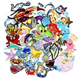 SIX VANKA 62pcs Ocean Animal Patches Mermaid Fish Dolphins Random Assorted Iron On Embroidered Applique Sew on for Kids DIY Crafts Clothes Backpacks (Color: Ocean Animal Patches Set)