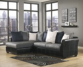 Masoli Contemporary Grey Microfiber Left Chaise Sectional Sofa