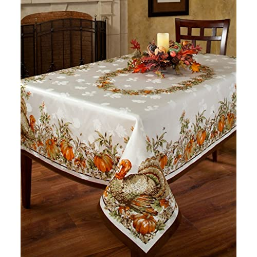 Benson Mills Turkey Festivities Engineered Border Tablecloth 60 by 120-Inch