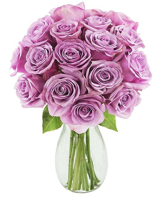 KaBloom | One Dozen & A Half Darling Lavender Roses | Vase | 2.5 Pound