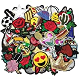 Dandan DIY 50pcs Random Assorted Styles Embroidered Patch Sew On/Iron On Patch Applique Clothes Dress Plant Hat Jeans Sewing Flowers Applique Diy Accessory (Assorted-Style 5) (Color: Assorted-Style 5)