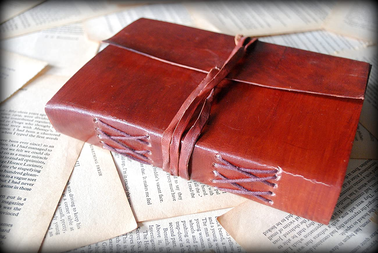 Red Vintage Leather Journal Notebook Diary gifts for men women him her sale 6