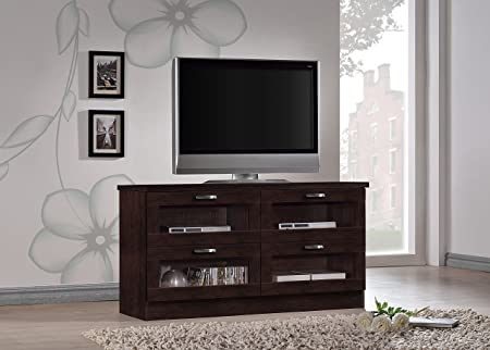 Wholesale Interiors Baxton Studio Adelino Dark Brown Wood TV Cabinet with 4 Glass Doors, 47.25""
