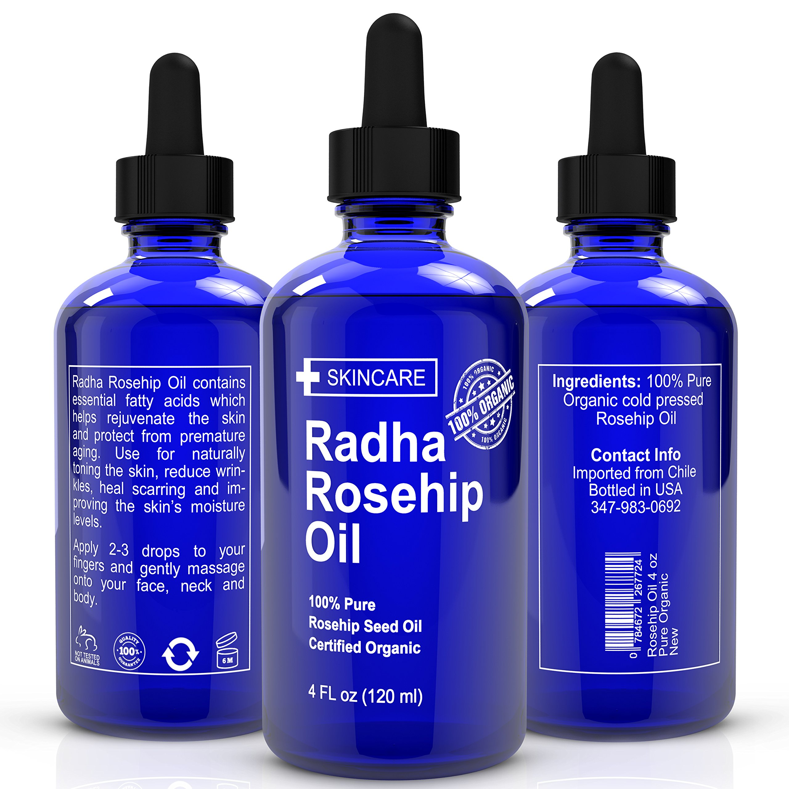 Organic Rosehip Oil Huge 4 Ounce 100 Pure Certified Organic Best Moist Ebay