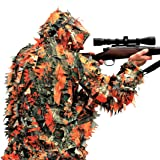 Blaze Orange 3D Leafy Camo Camouflage Ghillie Suit for Hunting or Wildlife Photography by See3D
