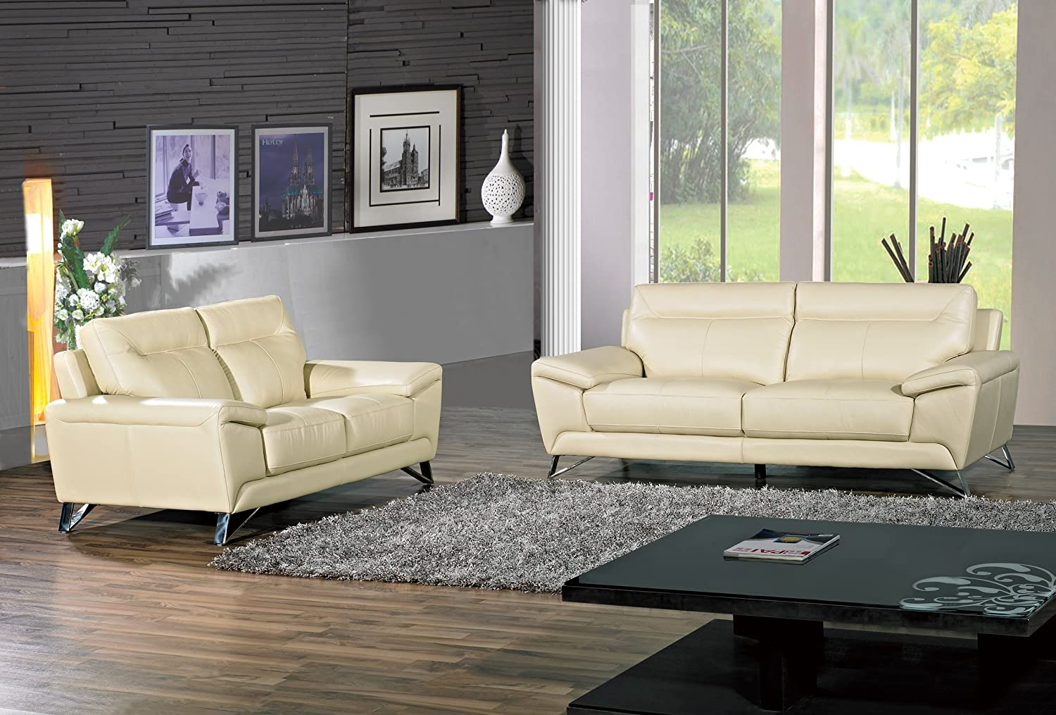 Cortesi Home Phoenix Genuine Leather Sofa & Loveseat Set - Cream