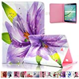 Galaxy T815/T810 Case,Ucover(TM) Diamond Design Full Body Hybrid Protective Case for Samsung Galaxy Tab S2 9.7-inch Tablet T810/T815 (Purplr Flower)