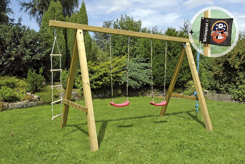 Doppelschaukel Premium Plus 3.2 aus KVH-Holz von Gartenpirat® günstig