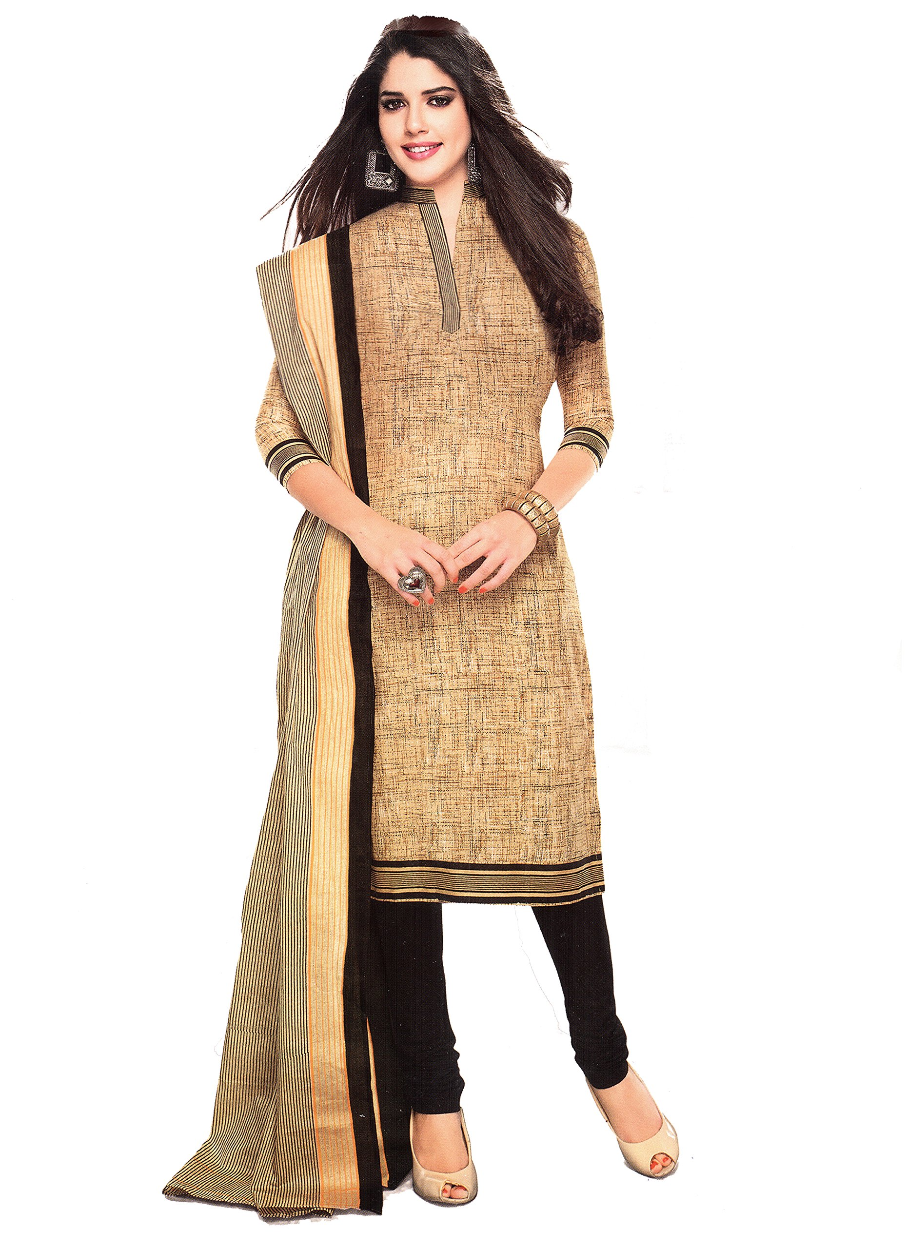 Vaamsi Women Polyester Cotton Mix Salwar Suit Dress Material (Cocp12 _Beige _Free Size).